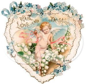 ture_Of_A_Vintage_Valentine_Of_Cupid_With_Ribbons_Prancing_In_White_Lily_Of_The_Valley_Flowers_On_A_Lacy_Heart_With_Forget_Me_Not_Flowers_Circa_1890