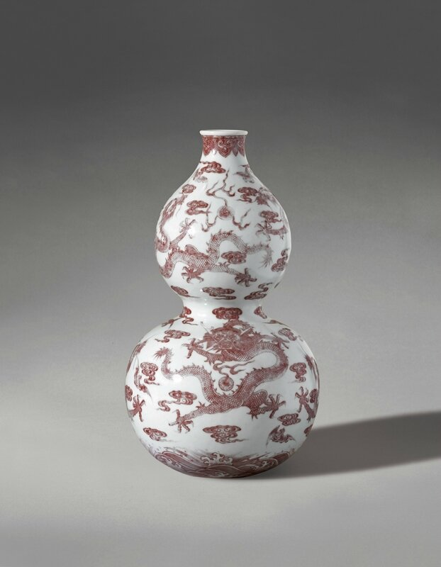 A fine and rare copper-red decorated double-gourd Vase, Seal mark and period of Qianlong