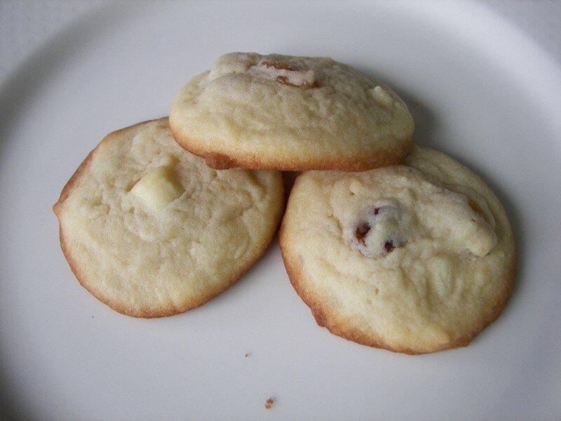 Biscuits à la vanille raisins secs/pépites de chocolat blanc