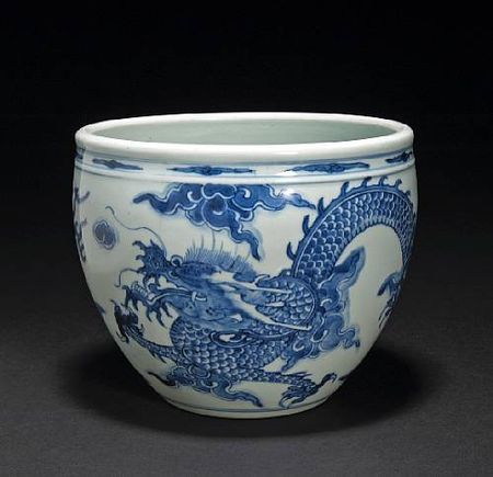 A_blue_and_white_porcelain_planter