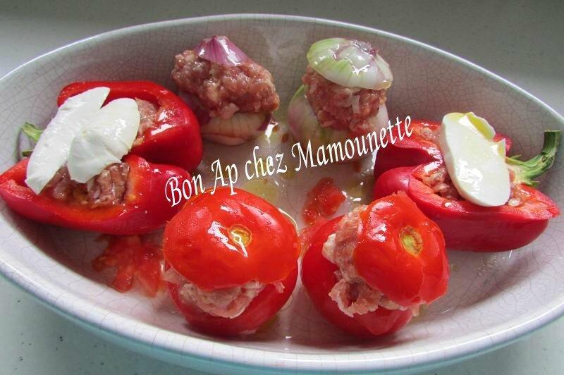 oignons rosé, poivron, tomates Bretagne, farcis à la chair mixte 008