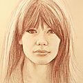 Brigitte Bardot - portrait aux 3 crayons sur papier Tiziano avorio 30x40 cm