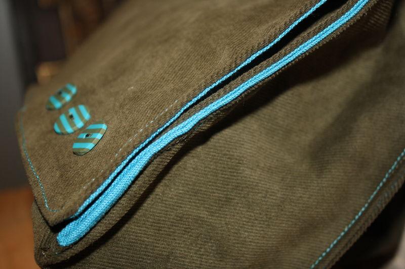 cartable kaki turquoise