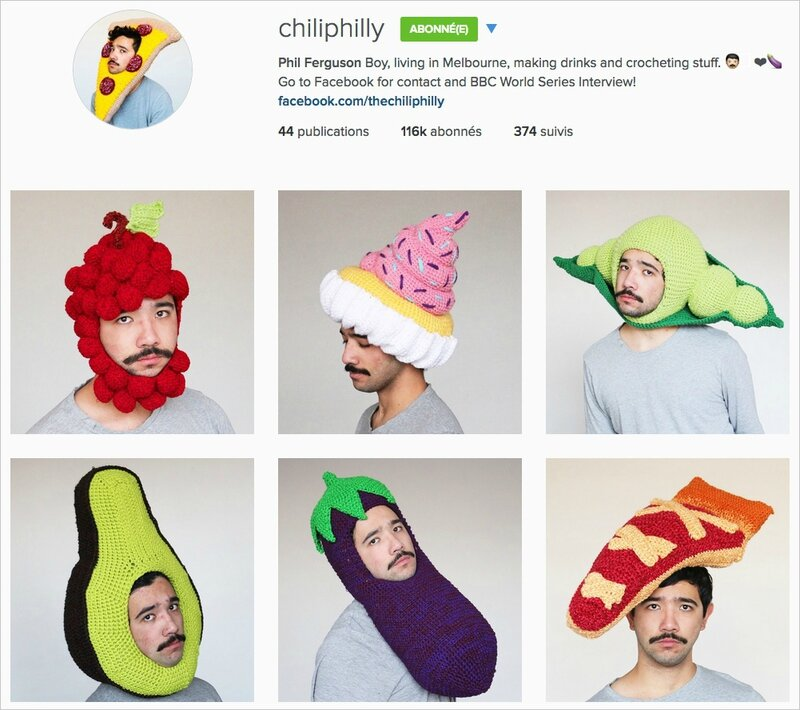 chapeaux aliments au crochet IG de chiliphilly