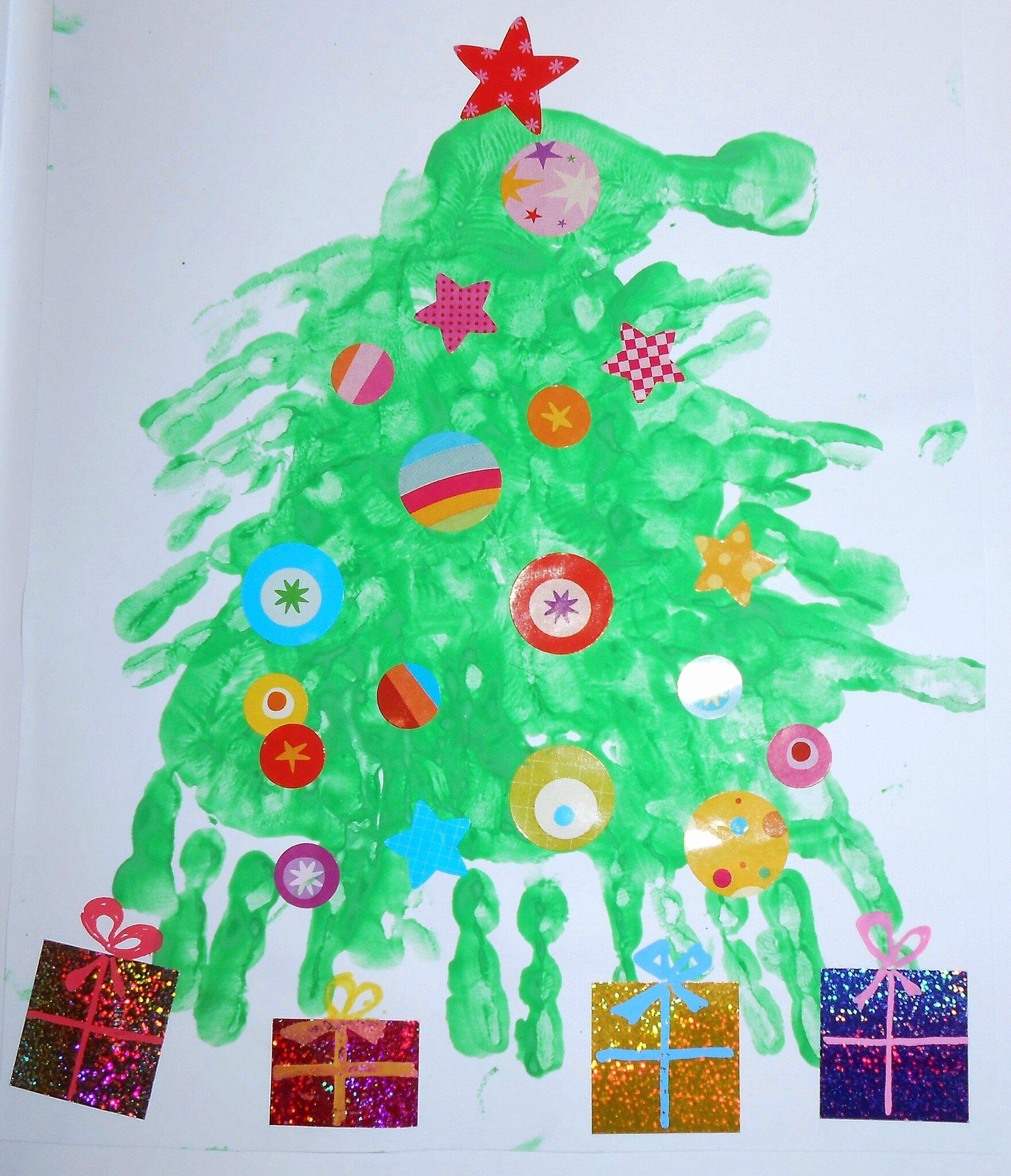 Activité Manuelle Noël pour sapin de noël en empreintes de mains - la maison féerique