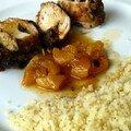 Blancs de poulet farcis aux dattes fraiches, sauce à l'orange et aux abricots secs