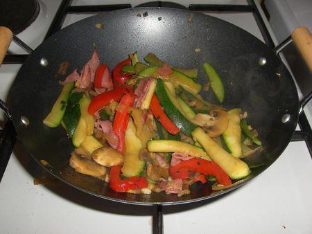 Wok express courgette/poivron/champignon