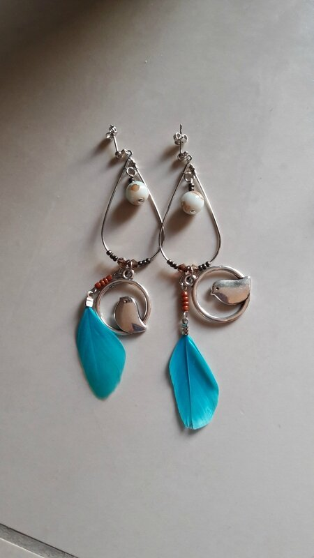 boucles d'oreills plumes turquoise