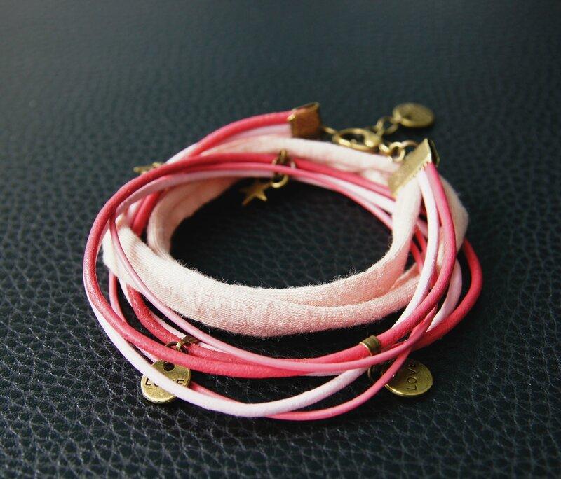bracelet 2 tours rose