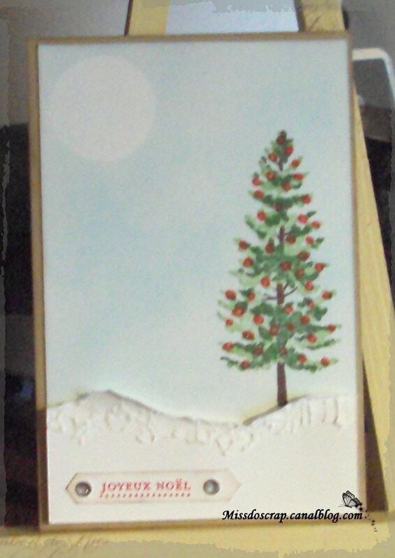 Carte noel sapin neige