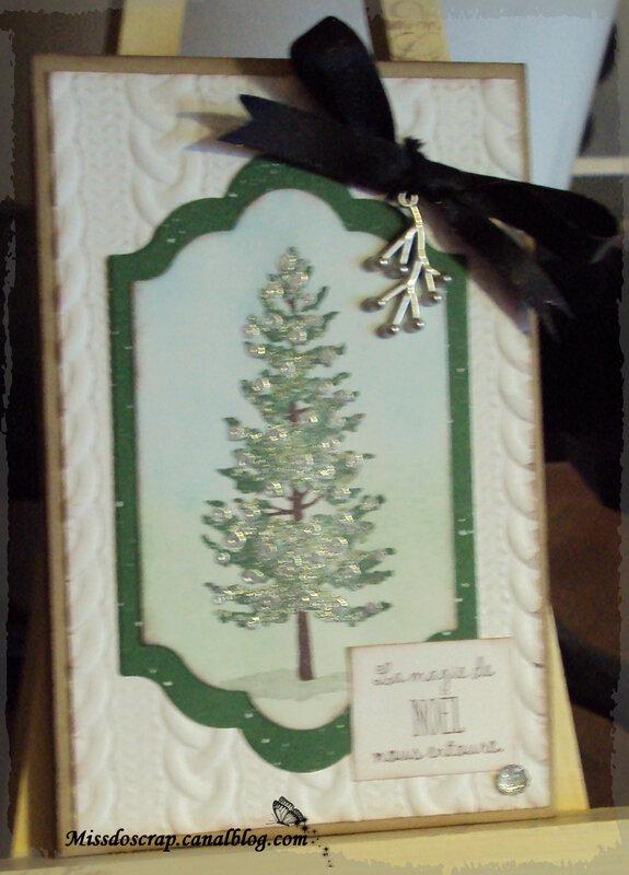 Carte noel sapin fond tricot et vert