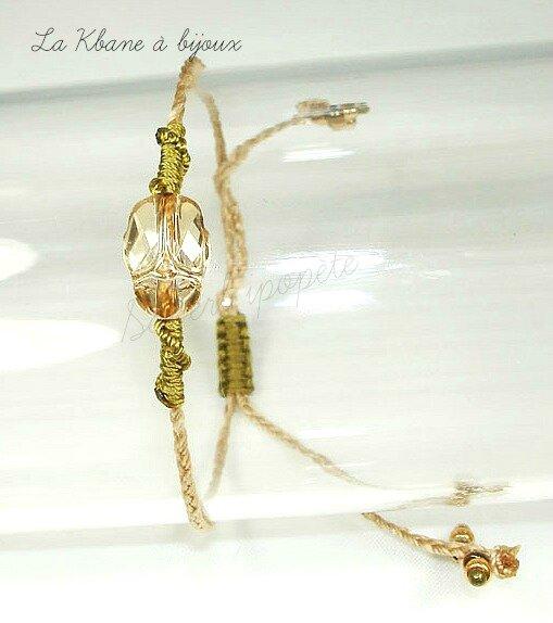 scarabée crystal golden shadow fil kaki et bronze 2