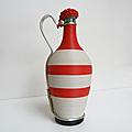 Déco vintage ... bouteille scoubidou * rouge et blanche