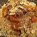 Couscous gourmand à la courge, abricots secs, amandes effilées et graines de sésame