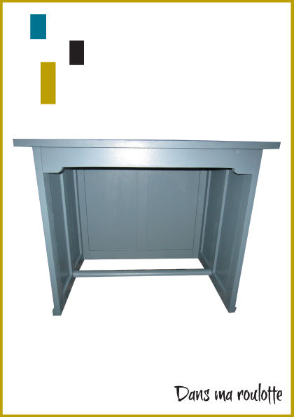 Bureau ma tre d 39 cole gris bleut 90 cm de long dans ma for Bureau 90 cm de long