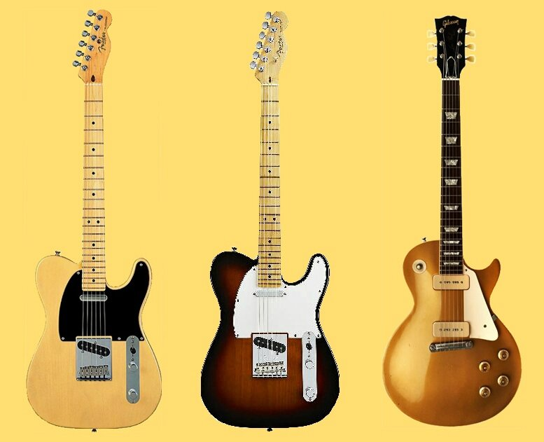 Guitares Fender Telecaster, Stratoscater et Gibson Les Paul