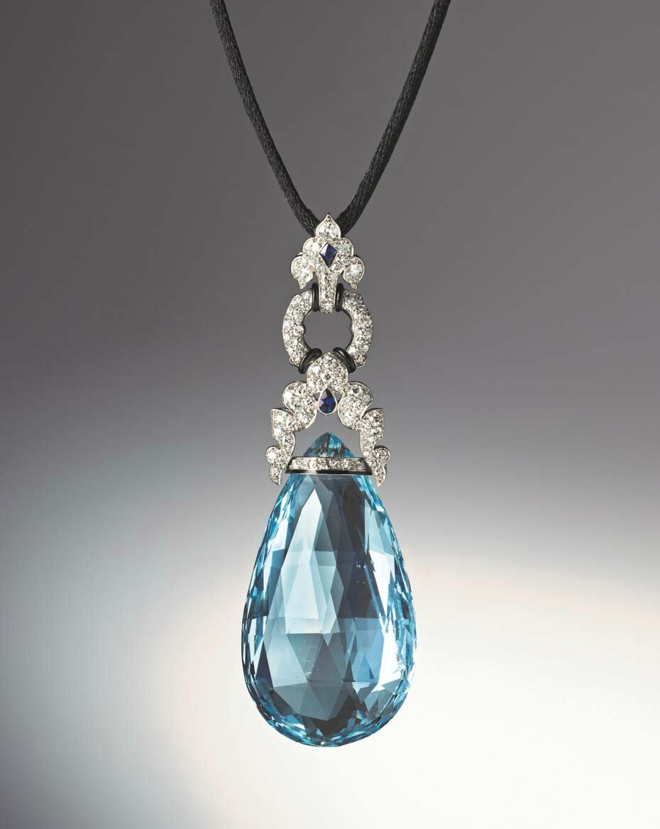 Art Deco aquamarine briolette pendant by Marzo, Paris, circa 1925