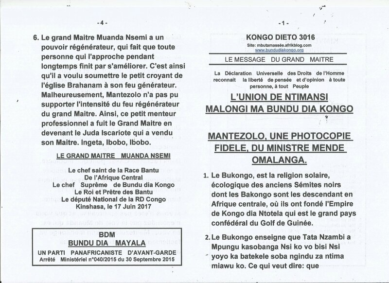 MANTEZOLO UNE PHOTOCOPIE FIDELE DU MINISTRE MENDE OMALANGA a