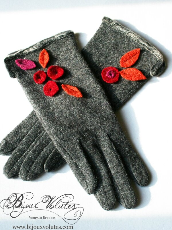 gants en laine pour femme l gante gants gris feuilles et fleurs rouge orange rose. Black Bedroom Furniture Sets. Home Design Ideas