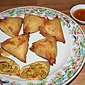 Samoussas aux grosses crevettes et curry