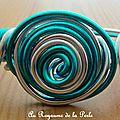 Bracelet alu turquoise et aluminium argenté