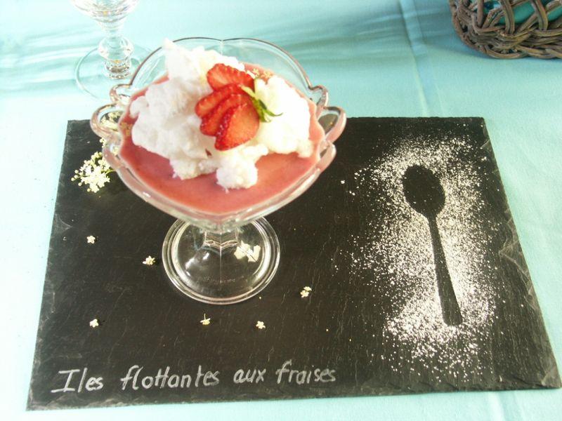 iles flottantes aux fraises