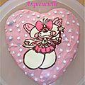 Gâteau coeur Diddl diddelina rose