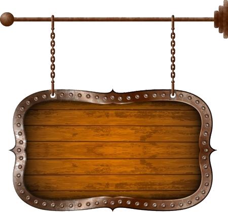 18084794-panneau-en-bois-avec-jante-en-metal-sur-les-chaines