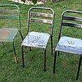 Chaises de terrasse de bistrot des années 50...
