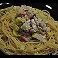 Spaghettis aux poireaux/chèvre/bacon