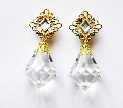 BO diamant gros clips dorés