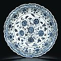 A fine blue and white 'Flowers' dish. Ming Dynasty, Yongle period