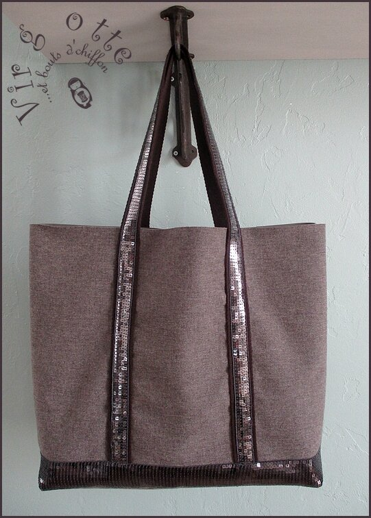 Sac paillettes Taupe'