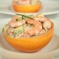 Tartare pamplemousse-avocat-crevettes, citron vert & wasabi