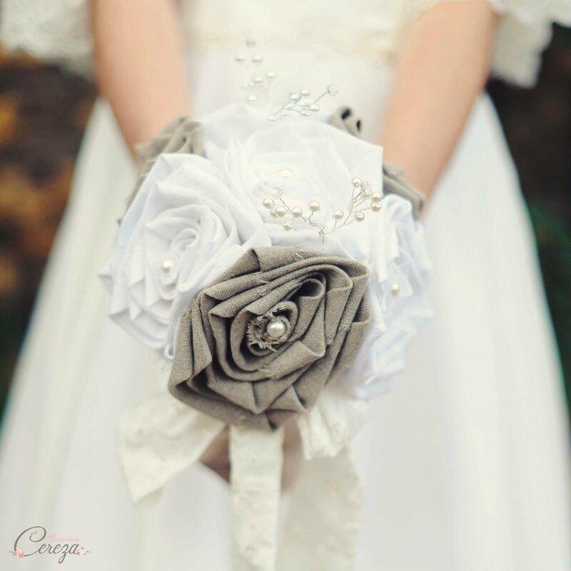 bouquet de mariée original bijou lin perles cereza mademoiselle