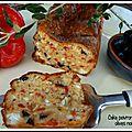 Cake poivrons feta olives noires