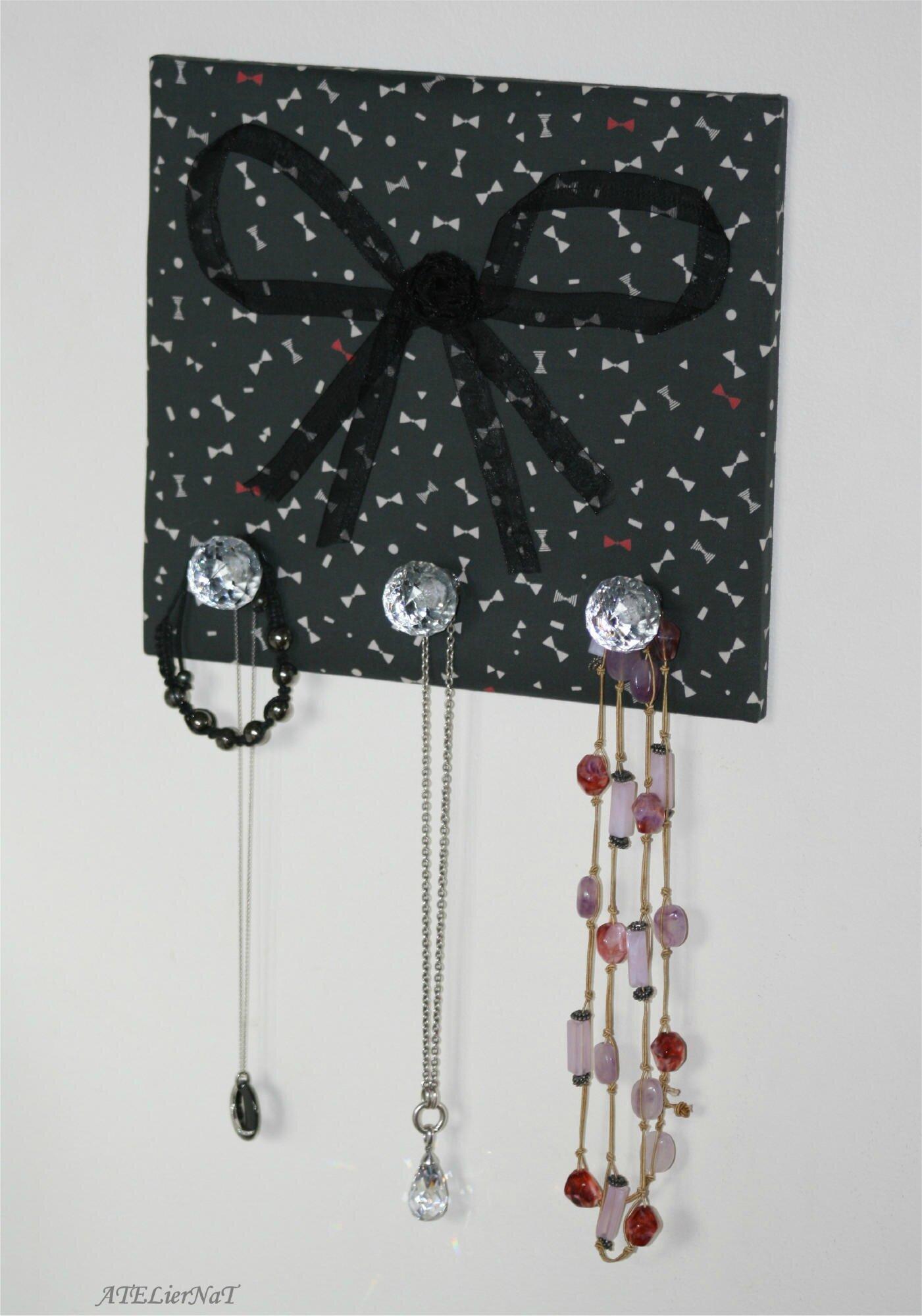 Porte-bijoux noeuds rouge et noir2