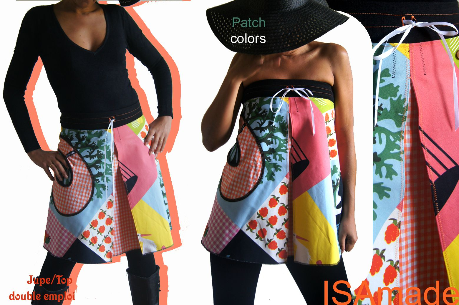 jupe trapze haut de style kitch bobo pour une pice fantaisie et originale double emploi une pice isamade of course - Jupe Colore