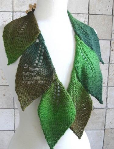 echarpe feuilles vertes