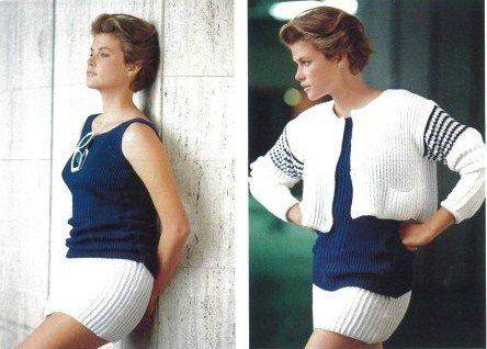 GAULTIER top marine cardigan blanc mini blanche PE 1985