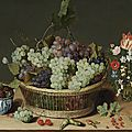 Isaac soreau (active hanau 1620-1638) a still life of grapes in a basket, mulberries in a wanli kraak porcelain bowl and flowers