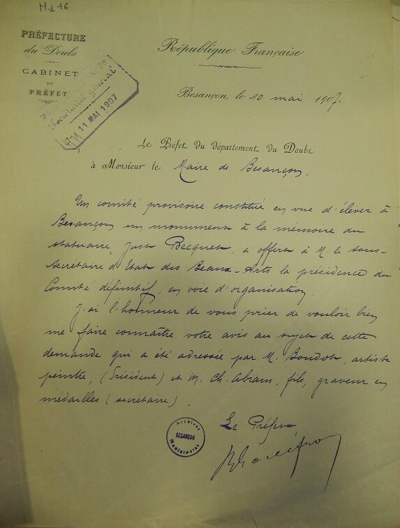 Becquet greber souscription lettre préfecture 10 mai 1907