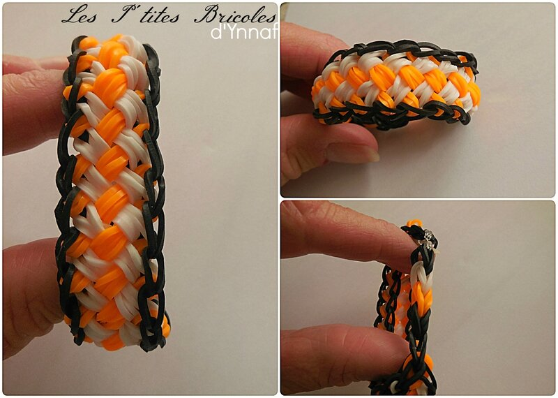 rainbow loom tressé orange et blanc1