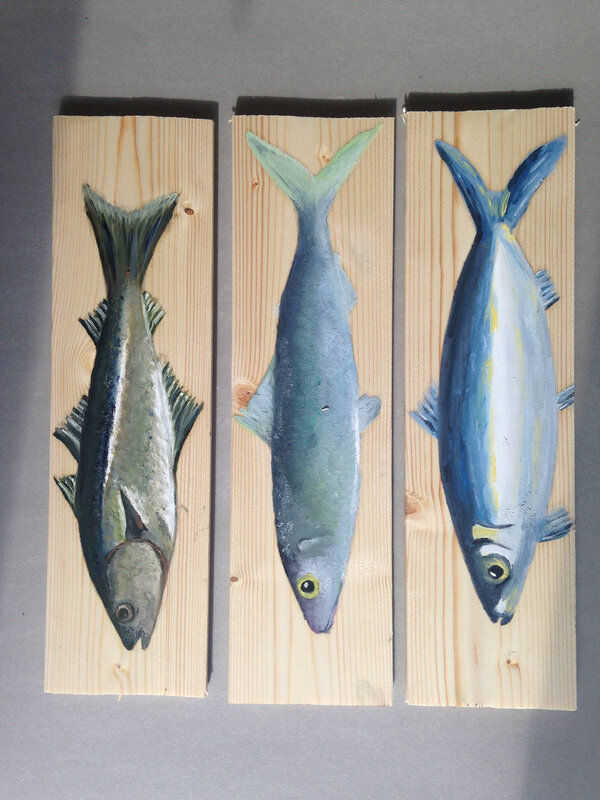 Les poissons peinture l 39 huile les pinceaux de tiphaine for Peinture a bois