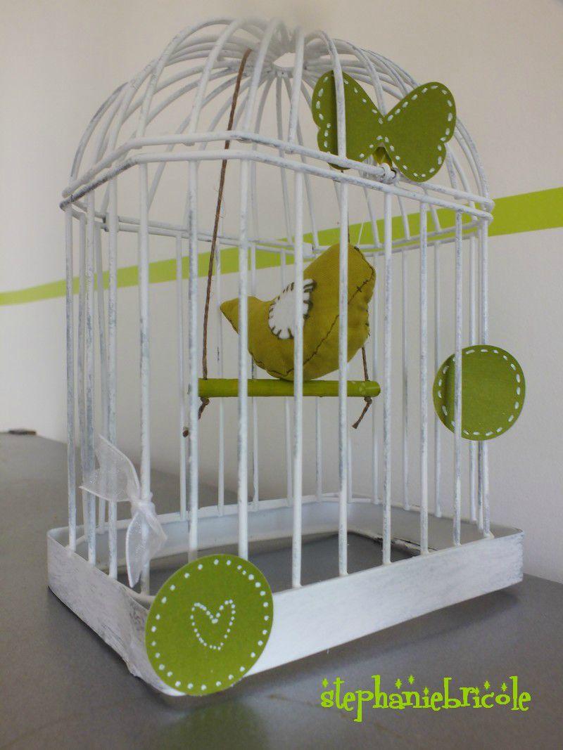 Id e d co un oiseau en tissu un perchoir bricol et une cage oiseaux chi - Petite cage oiseau deco ...