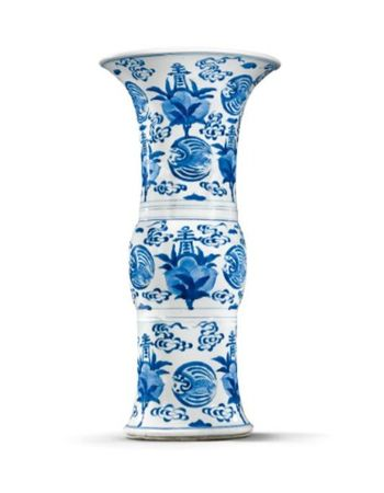 A_BLUE_AND_WHITE__LONGEVITY__BEAKER_VASE