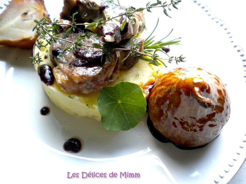 Côtes d'agneau au Sorcières, purée de panais et poires caramélisées au romarin 4