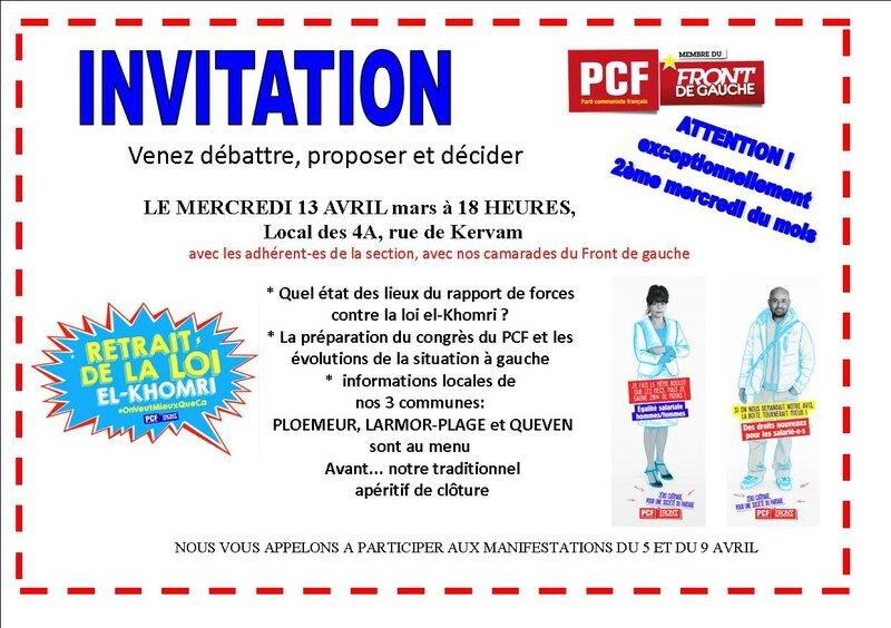 invitation réunion mensuelle avril 2016
