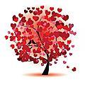 Royalty-Free Stock Векторное изображение: Valentine tree, love, leaf from hearts.