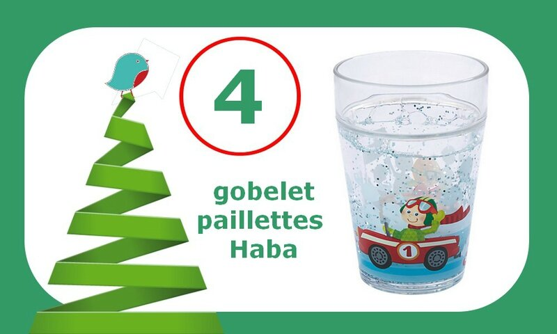 4 gobelet paillettes voiture haba logo